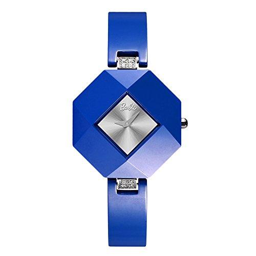 Barbie rautenfoermiges Zifferblatt Keramik Armbanduhr Quarz Analog Uhr Blau W50360L 04A