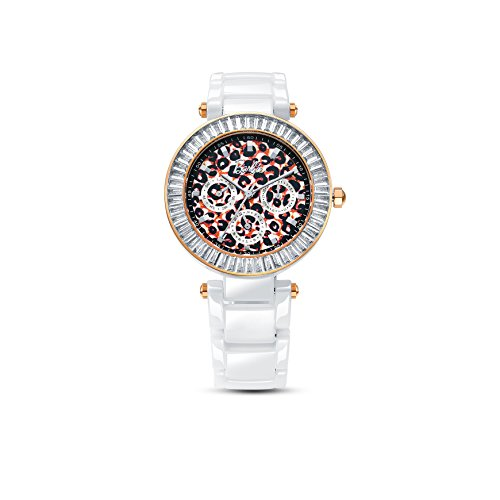 Barbie Zifferblatt mit Leoparden Muster Keramik Armbanduhr Quarz Analog Uhr Weiss W50358L 01A