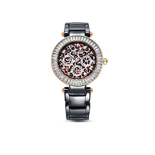 Barbie Zifferblatt mit Leoparden Muster Keramik Armbanduhr Quarz Analog Uhr Schwarz W50358L 02A