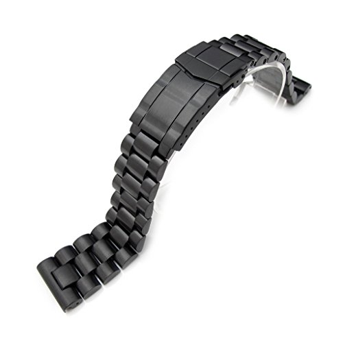 22 mm massiv 316L SS Endmill Metall Armbanduhr Band gerade Ende Deutschen Schliesse PVD schwarz