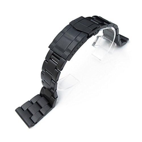 22 mm Super Oyster massiver SS gerades Ende Armbanduhr Band PVD schwarz Deutschen Schliesse