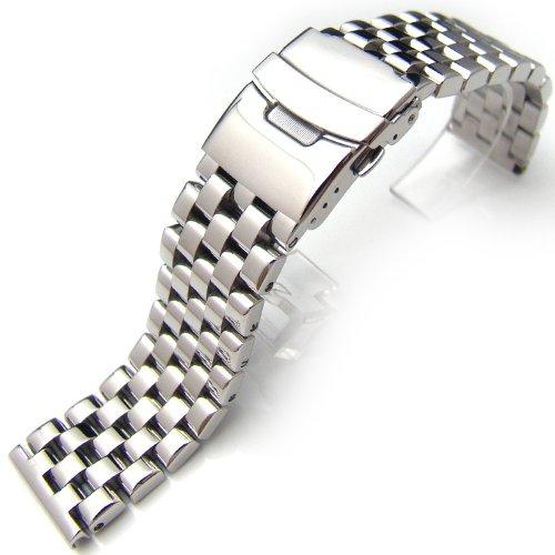 22 mm poliert Ingenieur Armbanduhr Armband massiv 316L Edelstahl Link gerade Ende