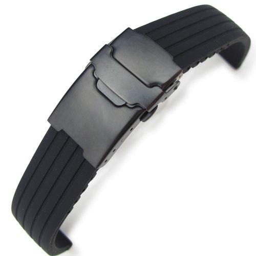 20 mm 4 Groove Line schwarz Silikon Uhrenarmband auf PVD schwarz Diver Schliesse B