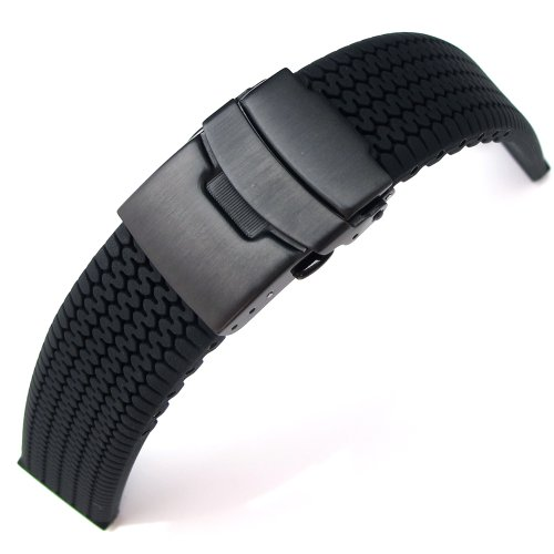20 mm Reifenprofil Silikon Band auf Diver Schliesse fuer Sport Armbanduhr PVD schwarz B