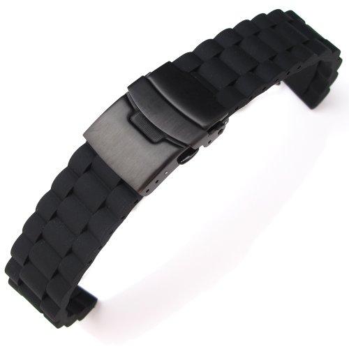20 mm schwarz Oyster Stil Silikon Band auf PVD schwarz Diver Schliesse fuer Sport Armbanduhr B