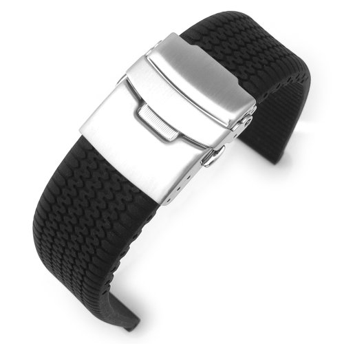 20 mm schwarz Silikonband Reifenprofil Armbanduhr Band