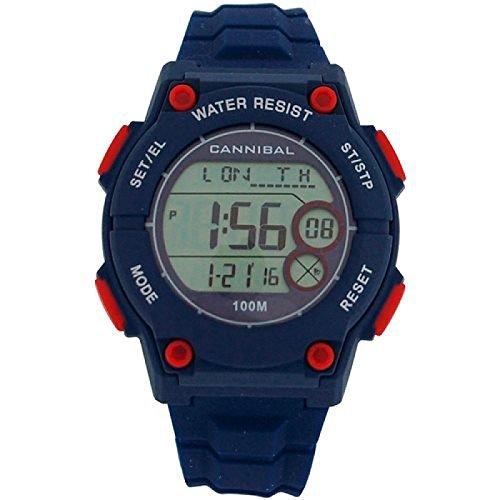 Cannibal CD274 05 Digitaler Armbanduhr Blaues Silikon Chronograph fuer Jungen