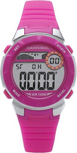 Cannibal Active Digitaler Chronograph und Armbanduhr fuer Maedchen mit Gummiarmband leuchtendes Pink CD273 14