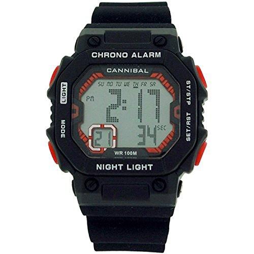 Cannibal Jungen Teen Digital Chronograph Schwarz Silikon Armbanduhr cd276 01