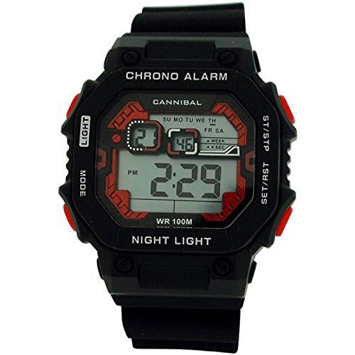 Cannibal Jungen Teen Digital Chronograph Schwarz Silikon Armbanduhr cd277 01