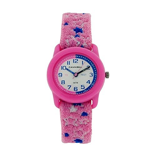 Cannibal Kinder Zeitlernuhr rosa blaues Stoffstretcharmband CT255 14