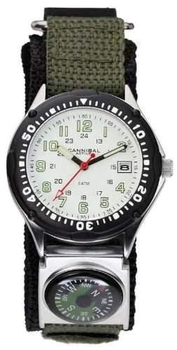 Cannibal CG146-01Analog Uhr fuer Gentleman aus Nylon Wasserdicht Weiss