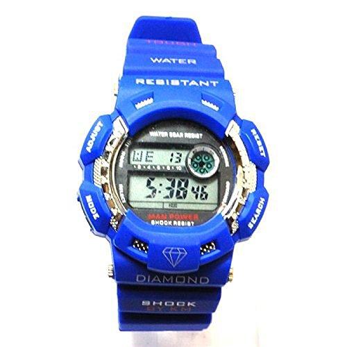 Blaue Kingmaster Digitaluhr mit diamantenfoermigen Gummiarmband