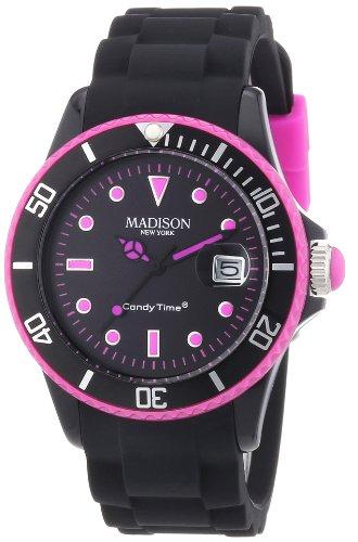 MADISON NEW YORK Unisex Armbanduhr Candy Time Black Line Neon Analog Quarz Silikon U4485 40 1