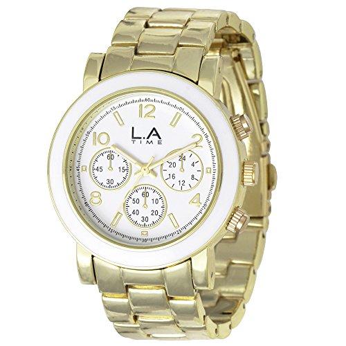 LA Time Damen Armbanduhr Analog Quarz Edelstahl beschichtet LA001L