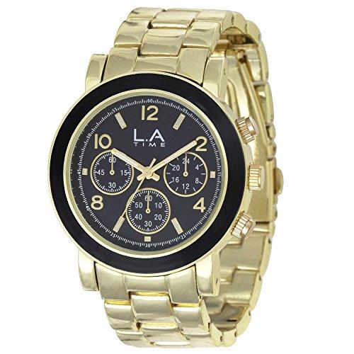 LA Time Damen Armbanduhr Analog Quarz Edelstahl beschichtet LA002L