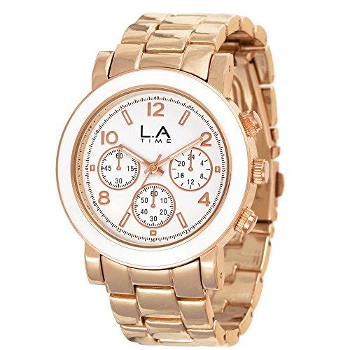 LA Time Damen Armbanduhr Analog Quarz Edelstahl beschichtet LA003L