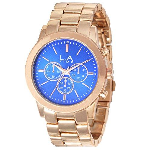 LA Time Damen Armbanduhr Analog Quarz Edelstahl beschichtet LA005L