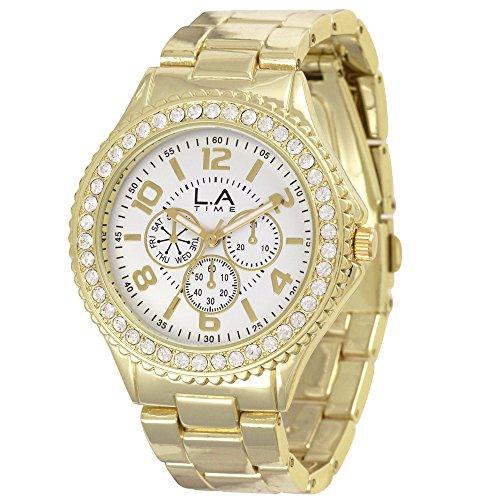 LA Time Damen Armbanduhr Analog Quarz Edelstahl beschichtet LA010L