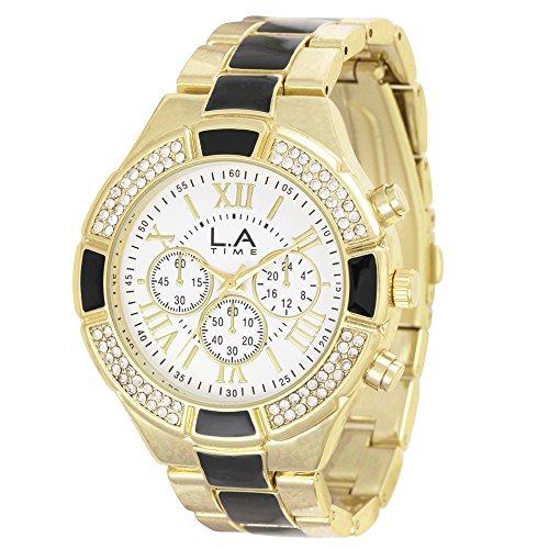 LA Time Damen Armbanduhr Analog Quarz Edelstahl beschichtet LA016L