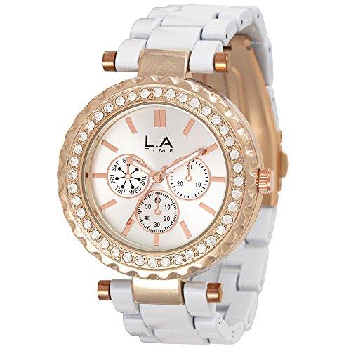 LA Time Damen Armbanduhr Analog Quarz Edelstahl beschichtet LA020L