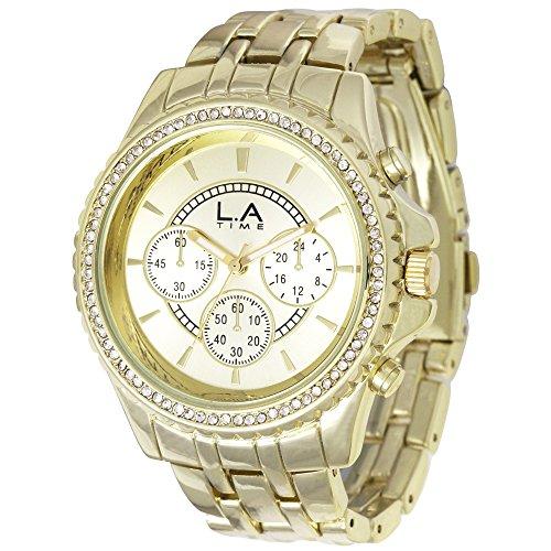 LA Time Damen Armbanduhr Analog Quarz Edelstahl beschichtet LA024L