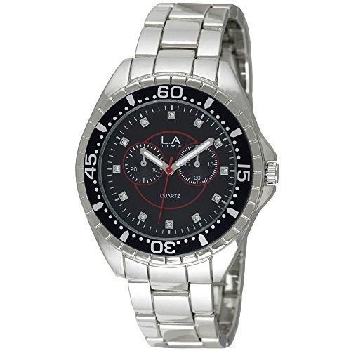 LA Time Herren Armbanduhr Analog Quarz Silber LA 103G
