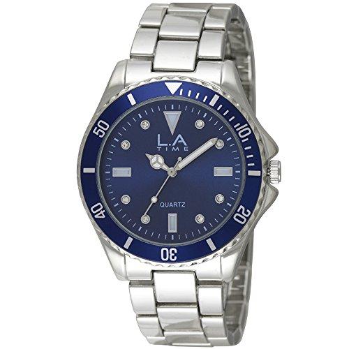 LA Time Herren Armbanduhr Analog Quarz Silber LA 111G