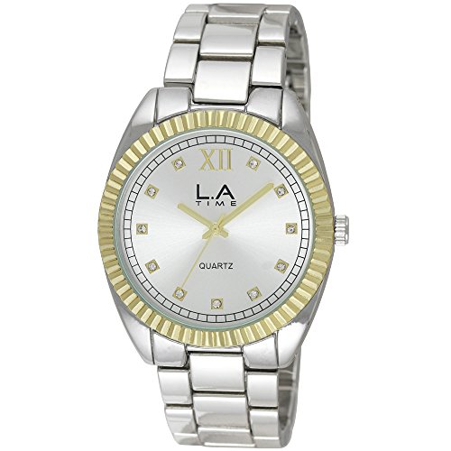 LA Time Herren Armbanduhr Analog Quarz Silber LA 106G