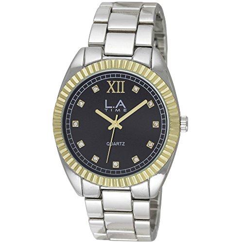 LA Time Herren Armbanduhr Analog Quarz Silber LA 104G