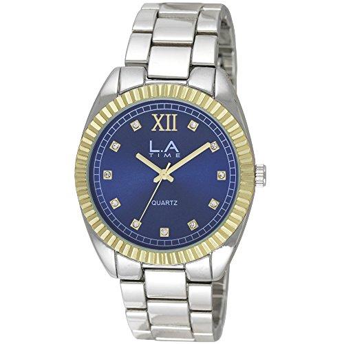 LA Time Herren Armbanduhr Analog Quarz Silber LA 105G