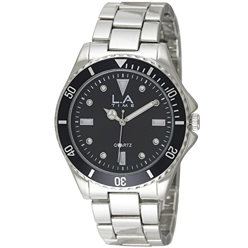 LA Time Herren Armbanduhr Analog Quarz Silber LA 112G