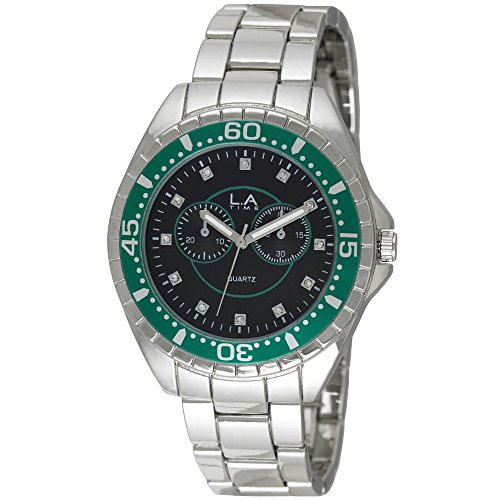 LA Time Herren Armbanduhr Analog Quarz Silber LA 102G