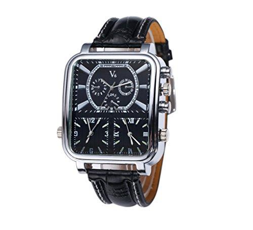 V6 Herren Analog Quarz Uhr Silber quadratisch Fall mit 3 Zeitzonen und schwarz Band
