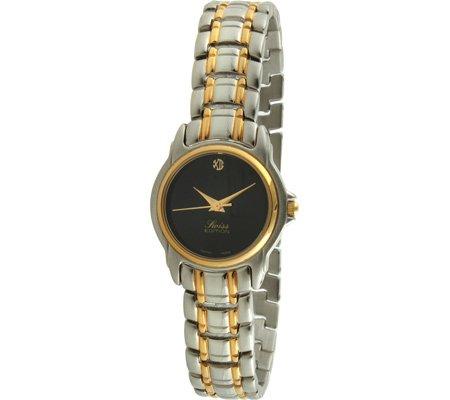 Swiss Edition se3810 l Damen Bicolor schwarz Zifferblatt Kleid Armbanduhr
