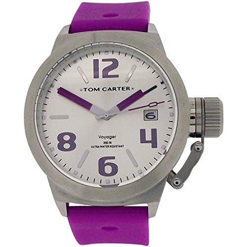 Tom Carter Edelstahl Unisexuhr weisses Datum Zifferblatt violettes Silikonarmb