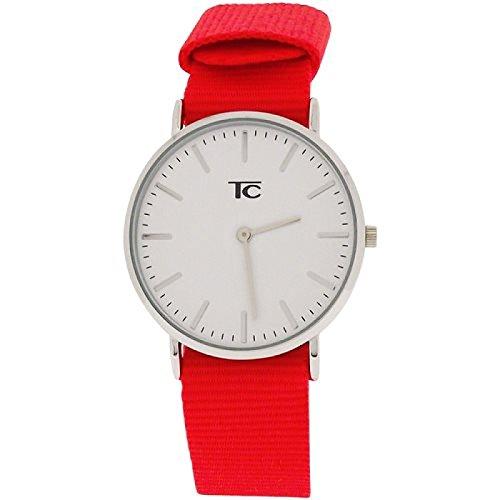 Tom Carter unisex Edelstahl Uhr weisses Zifferblatt rotes Nylonarmband