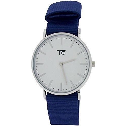 Tom Carter unisex Edelstahl Uhr weisses Zifferblatt dunkelblaues Nylonarmband