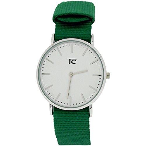 Tom Carter unisex Edelstahl Uhr weisses Zifferblatt flaschengruenes Nylonarmband