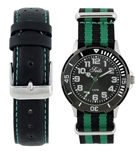 Seits Jungen-Armbanduhr Analog Quarz mit ein extra Uhrenarmband Nato strab Geschenkset 582683gr