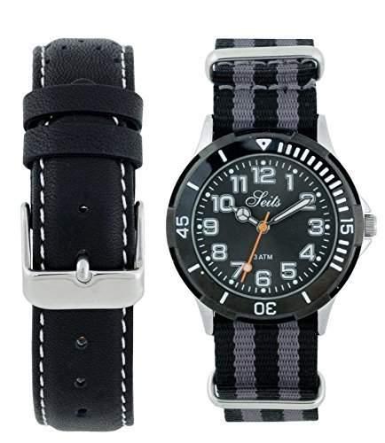 Seits Jungen-Armbanduhr Analog Quarz mit ein extra Uhrenarmband Nato Strab Geschenkset 582683gra