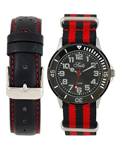 Seits Jungen-Armbanduhr Analog Qurz mit ein extra Uhrenarmband Nato Strab Geschenkset 582683r
