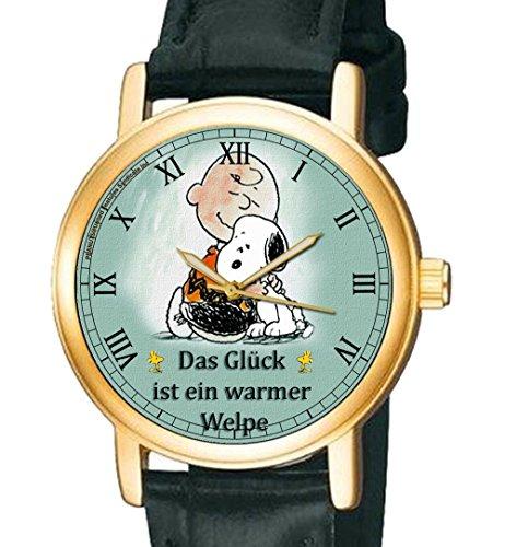 Das Glueck ist ein warmer Welpe Snoopy Peanuts Sammler 30 mm Unisex Armbanduhr