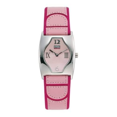 4YOU Maedchenuhr und Damenuhr mit pinkem Lederarmband 42601