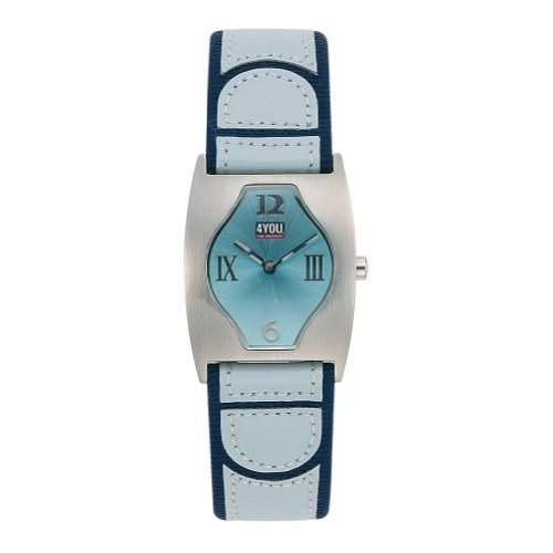 4YOU Maedchenuhr und Damenuhr mit hellblauem Lederarmband 42602