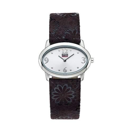 4YOU Maedchenuhr und Damenuhr mit braunem Lederband 431051