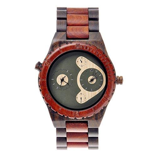 ZLYC Herren Two Tone Natuerliche Sandelholzuhr Hoelzerne Uhr Mit Zwei Japanisches Quarzwerk Zeiger
