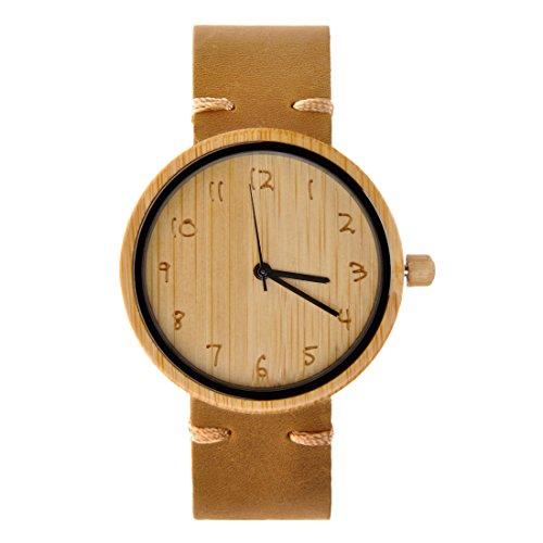 ZLYC Unisex Minimalistische Design Neutrale Bambusholz Japanisches Quarzwerk Ankeruhr Holzuhr Echtes Lederbanduhr Armbanduhr