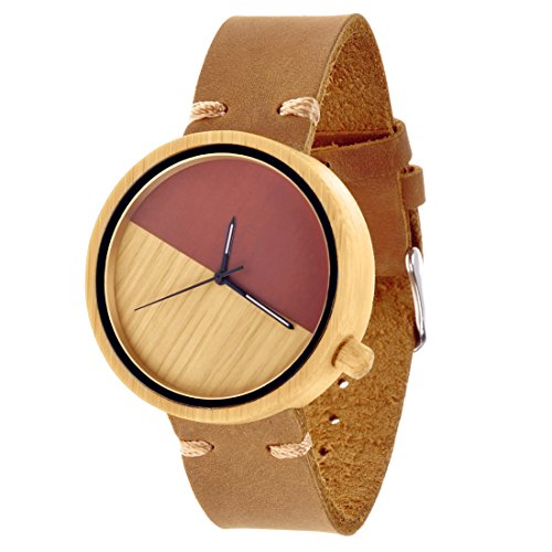 ZLYC Unisex Minimalistische Design Neutrale Bambusholz Japanisches Quarzwerk Ankeruhr Holzuhr Echtes Lederbanduhr