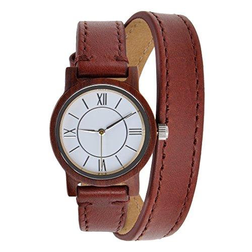ZLYC Damen Rot Minimalistische Design Der Japanisches Quarzwerk Armbanduhr Aus Rote Sandelholz Mit Zwei Wrap Echten Lederband